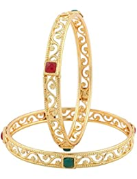Zeneme Exclusive Gold Plated Square Shaped Red Green Stone Bangles For Women - Set Of 2
