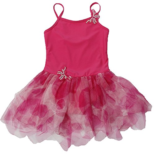 TFJH Little Girls' Butterfly Style Short Sleeve Ballet Long Dress US 5 Hot Pink
