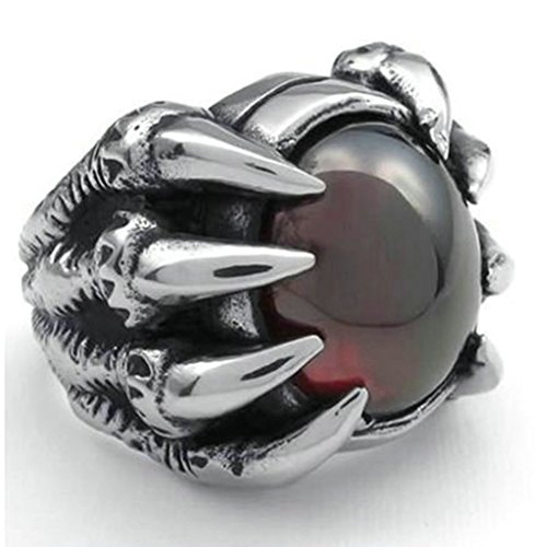 [Stainless Steel Ring for Men, Claw Ring Gothic Black Band Silver Band 23MM Size 9 Epinki] (Boss Hog Costume)