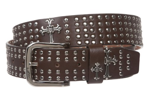 """1 1/2"""" Snap On Riveted Chritian Religious Cross and Circle Studded Leather Belt Size: M - 36 Color: Brown"""