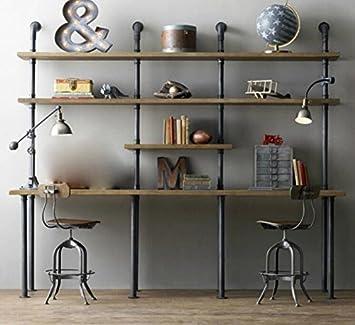 metal rack legno duro retrò divisione creativa libreria libreria arte tubo mostra fotogramma legno duro.,c (200 * 40 * 200cm)