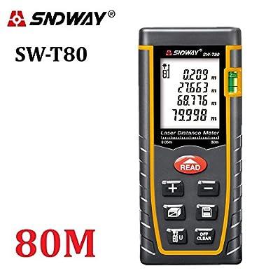 SNDWAY® Digital Laser Distance Meter 40m-60m-80m-100m trena laser tape Measure tool Range Finder with Large Backlit LCD 4 Line Display, Bubble Level, Self Calibration Rangefinder Diastimeter
