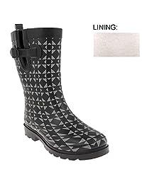 Capelli New York Ladies Geometric Print Short Fleece Lined Rain Boot