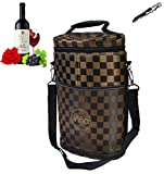 Vina Double Bottles Insulated Wine Cooler Bag, Beer Carrier Picnic Travel Tote, Champagne Padded Hard Carrier Totes Bags, Portable Thermal Cooling Shoulder Bag, Brown Grid +Free Corkscrew