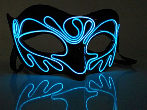 [Circle Circle DIY Creative El Wire Glowing Mask for Halloween Mardi Gras Carnival Bar Masquerade] (Dead Prom Queen And King Costumes)