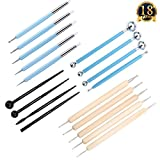 Jelacy 18PCS Ball Stylus Dotting Tools Clay Pottery Modeling Set Rock Painting Kit WITH 5 Rubber tip clay tools Rock Paint Brushes Set for Sculpture Pottery (18 PCS)