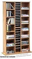 HomeStore Global, Vacances cadeau, CARSON - Etagère de Rangement pour CD, DVD et livres - Meuble Multimedia - Finition chêne. 113 x 63 x 20cm. Capacité de 312 CD