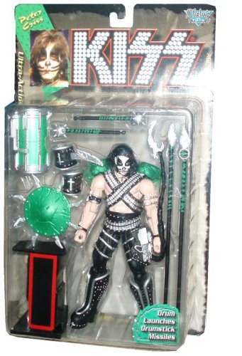 1997 - McFarlane - KISS - Peter Criss - Ultra Action Figure - Drum Launches Drumstick Missiles & Letter I - Rare - Out of Prodcution - Limited Edition - Collectible