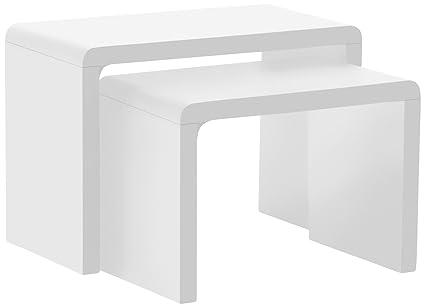 AC Design Furniture 36158 2-Satz Tisch Lucas, ca. 59 x 41 x 30 cm, weiß hochglanz