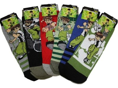 New Official Boys BEN 10 ben10 Cartoon Character Cotton Rich Ankle Socks 6 pair pack To Fit UK Kids shoe sizes 6-8/9-12/12-3