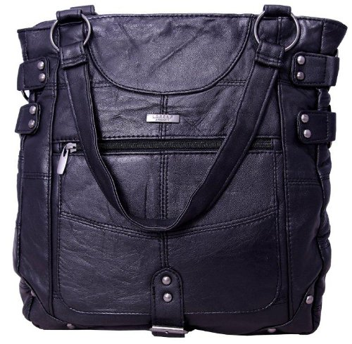 Large Soft Nappa Black Leather Shopper Style Handbag Shoulder Bag - Large and Roomy