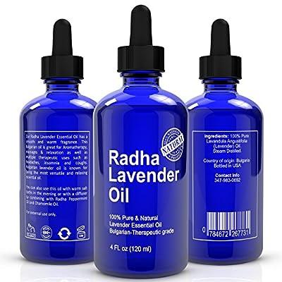 Radha Lavender Essential Oil - Big 4 Oz - 100% Pure & Natural Therapeutic Grade - PREMIUM QUALITY Oil From Bulgaria