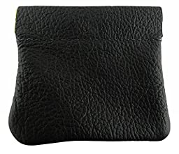 AimTrend Men\'s Leather Squeeze Coin Pouch Change Holder, Black