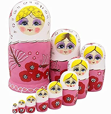 Cute Lovely Pink Dragonfly and Red Flower Pattern Handmade Wooden Russian Nesting Dolls Matryoshka Dolls Set 10 pieces For Kids Toy Birthday Christmas Gift Home Decoration