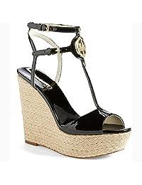 michael kors keely wedge sandal 9.5 black patent leather