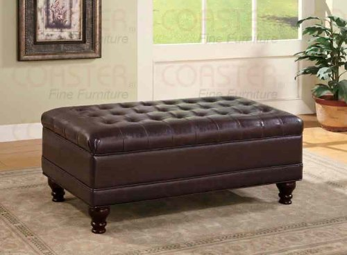 Coaster Storage Ottoman with Tufted Accents in Dark Brown Leather Like (Coaster Home Furnishings)