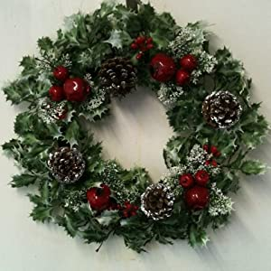 Artificial 17 43cm variegated holly christmas wreath with for Artificial pomegranate decoration