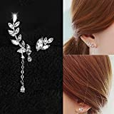 CIShop Sparkling Asymmetry Leaf Diamond Stud Earrings (Hypoallergenic,Silver Tone)