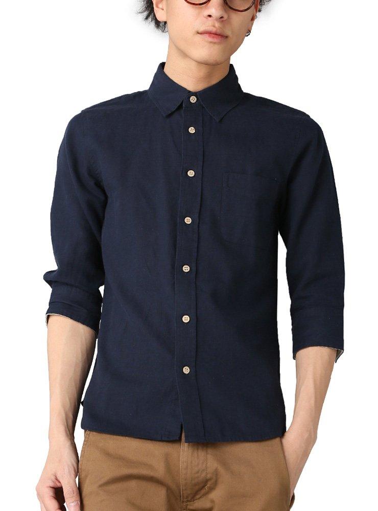 (ベストマート)BestMart 綿麻 シャツ メンズ 7分袖 七分袖 半袖 無地 605171