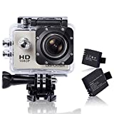 DBPOWER X1HD12MP 1080P HD Waterproof Action Camera Bundle with 2 Batteries and Accessories, Silver (17 Items)
