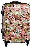 <シフレ>HAPI+TAS(ハピタス)可愛い柄のTSAロック付 拡張式ジッパー ハードキャリー・スーツケース (50cm <約1~3泊用> 容量:約41~49リットル Sサイズ, アンティークピンク(118))