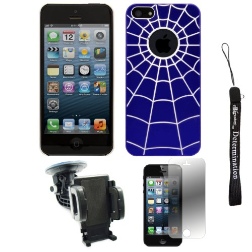 Blue Spider Web Design One-Piece Back Protective Cover For Apple Iphone 5 Ios (6) Smart Phone + 360° Car Rotatable Windshield Mount Kit + Apple Iphone 5 Screen Protector + An Ebigvalue Tm Determination Hand Strap