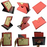 Coodio® Asus Padfone Infinity Station 4 A86 3 A80 360 Grad Drehbar Lederhülle Tasche Cover Mit Ständer Gebaut in Handgriff - Farbe Rot