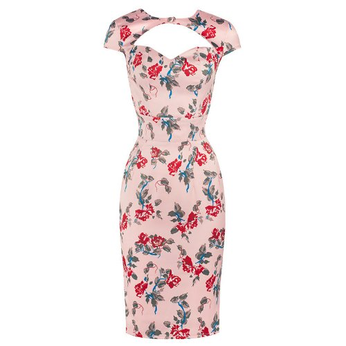 Pretty Kitty Fashion Pink Floral Wiggle Pencil Dress
