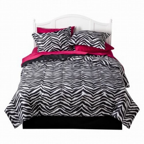 Xhilaration Twin Bed In Bag Black Zebra Stripe Comforter Sheet Sham Reversible front-183699