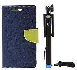 Novo Style Book Style Folio Wallet Case AppleiPhone 6 Plus Blue + Wired Selfie Stick No Battery Charging Premium Sturdy Design Best Pocket SizedSelfie Stick