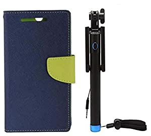 Novo Style Book Style Folio Wallet Case Sony Xperia Z1 Blue + Wired Selfie Stick No Battery Charging Premium Sturdy Design Best Pocket Sized Selfie Stick