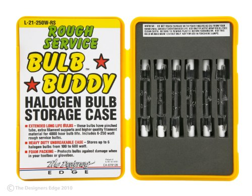 Designers Edge L-21 Rough Service Work Light Replacement T-3 Bulbs with Hard Case, 250-Watt, 6-Pack (Colors may Vary)