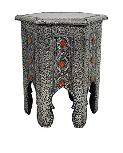Badia Design Metal & Bone Hexagonal Side Table with a Glass Top, Silver/Orange