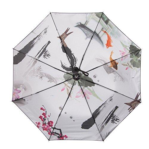 manuale-pieghevole-pioggia-antivento-anti-uv-sumi-e-ombrello-da-viaggio-lotus-pond-taglia-unica