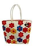 Neska Moda Swachh Bharat Floral Print Jute Bag Red,White,Yellow Shoulder Bag-B35