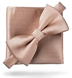 Flairs New York Gentleman\'s Essentials Pocket Square (Pocket Square Only, Champagne Gold [Glitter Dot Print])