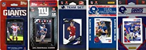 NFL New York Giants Five Different Licensed Trading Card Team Sets by C&I Collectables