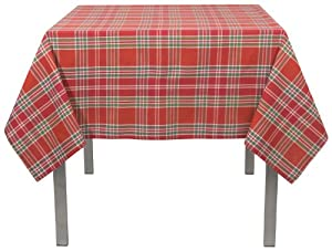 Now Designs Tablecloth, 60 by 120-Inch, Joyous Plaid Chili