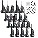 Baofeng BF-888S UHF 400-470MHz 16CH CTCSS/DCS With Earpiece Handheld Two Way Radio Amateur Radio Transceiver Walkie Talkie Long Range Black 20 Pack and Retevis 6 in 1 USB Program Programming Cable