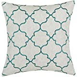 "Euphoria Home Decorative Cushion Covers Pillows Shell Linen Blend Embroidery Big Trellis Chain Accent Teal 17"" X 17"""