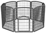 IRIS Plastic Exercise/Containment Pet Pen for Dogs, 63 by 34-Inch, Dark Gray
