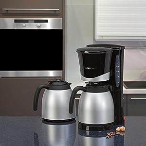 Kaffeemaschine mit 2 doppelwandige Thermokanne, Nachtropfsicherung, 8-10 Tassen, herausnehmbarer Filtereinsatz, Schwarz, 870 Watt, NEU + OVP