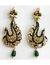 Faux Emerald, Citrine And Garnet Peacock Post Earrings - Stone And Metal