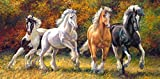 Puzzle 4000 Teile - Pferde im Galopp / Wildpferde - Panorama Panoramapuzzle - Pferd Stute Hengst Araber Schimmel Brauereipferd - Wildtiere - Haustier Tiere Gestüt