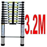 3.2M Telescopic Ladder - EN131 Aluminium Foldable Extension Ladder Max. 150kg