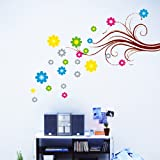 Generic DIY Colourful Flowers & Vines Wall Stickers Vinyl Decals Art Home Decor