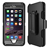 iPhone 6 Plus Case, iPhone 6s Plus Case Heavy Duty Dual Bumper Cover with [Belt Clip] Kickstand & Built-in Screen Protector [Shockproof] Hybrid Hard Shell for Apple 5.5 Inch (black)