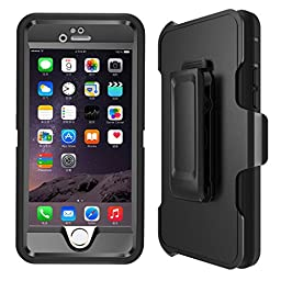 iPhone 6s Case, Heavy Duty 4 Layer Built-in Touchable Screen Protector, Dustproof and Shockproof Hybrid Hard Shell Cover with Belt Clip&Kickstand for iPhone 6 and iPhone 6s Case - Black