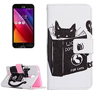 Crazy4Gadget For Asus Zenfone Go / ZC500TG World Domination for Cats Pattern Horizontal Flip Magnetic Leather Case with Holder and Card Slots & Wallet