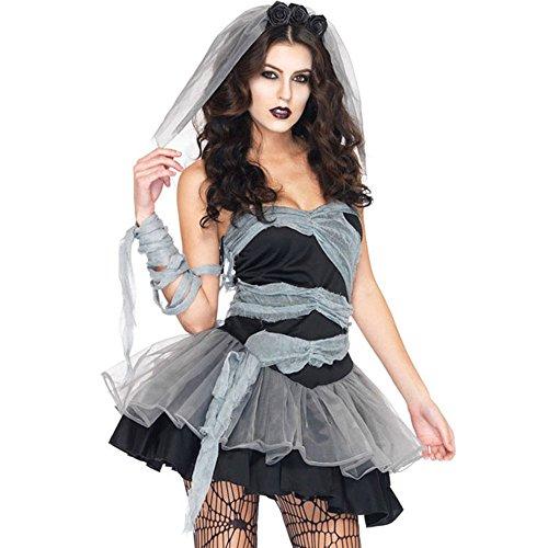 Flymall Women's Vampire Ghost Bride Zombie Witch Fancy Dress Halloween Costume (Free Size) (Vampire Fancy Dress Women)